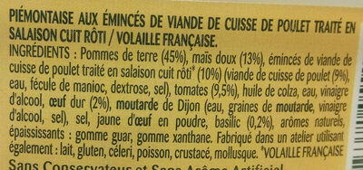 Piémontaise poulet - Ingredients