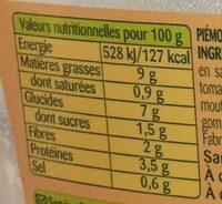 Piémontaise au Poulet rôti - Voedingswaarden - fr
