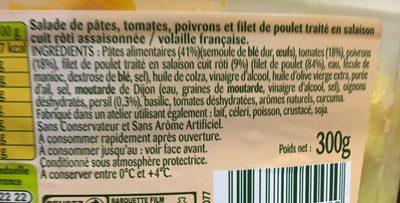 Salade de Pâtes Tomates Poivrons et Poulet Roti - Ingrediënten - fr