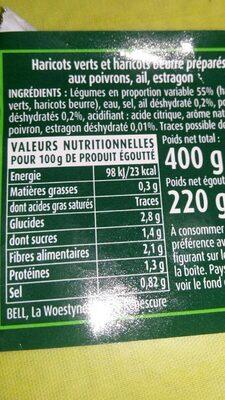 Haricots verts et haricots beurre - Voedingswaarden