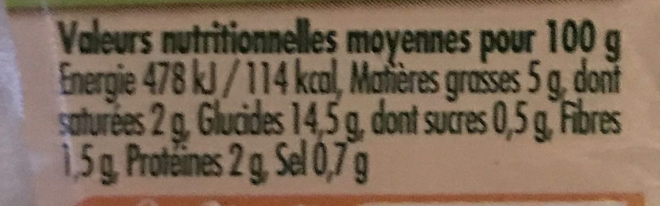 Pommes de terre à la crème et ciboulette - Informations nutritionnelles