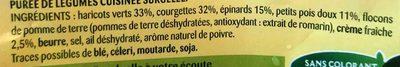 Purée Délice Harricot vert, Courgettes, Épinards,  Pois,  Crème - Ingrédients - fr