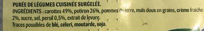 Purée Délice Duo Douceur Carottes, Potiron, Crème - Ingredients