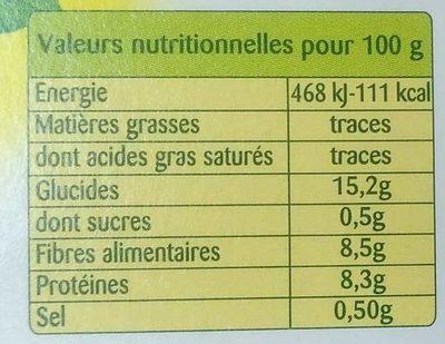 Touche de haricots rouges - Informations nutritionnelles