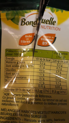 Haricots verts et Haricots beurre - Nutrition facts - fr