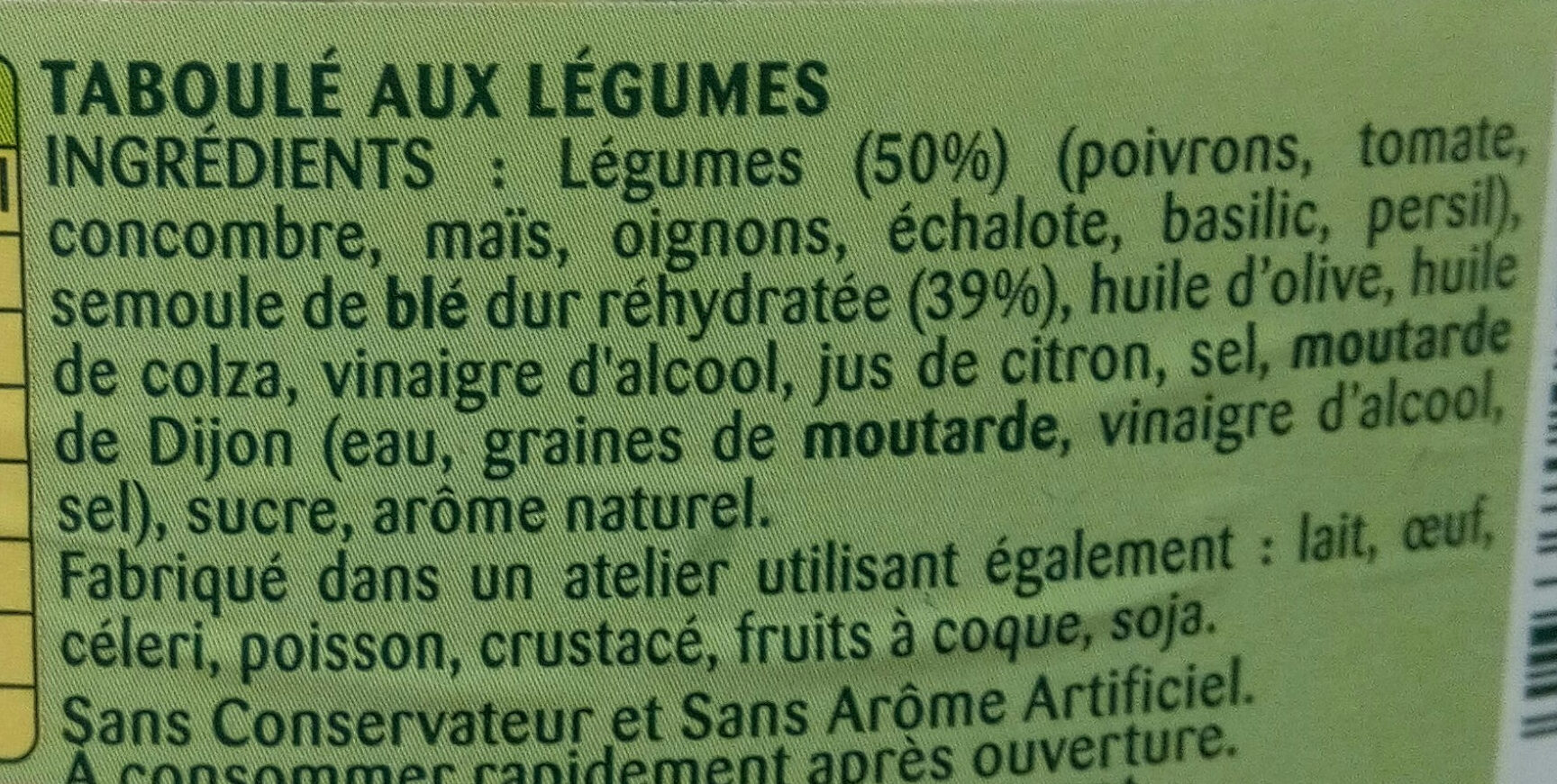Taboulé Légumes - Ingredients