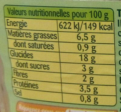 Taboulé Légumes - Nutrition facts