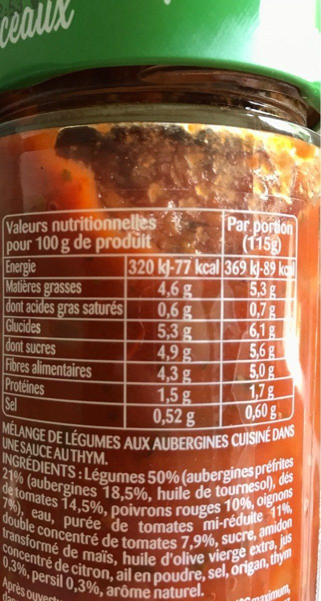 Aubergines et thym en sauce - Informations nutritionnelles - fr
