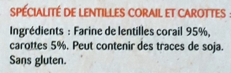 Légumiô Pasta Lentilles Corail et Carottes - Ingrediënten