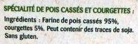 Légumiô - Pois Cassés et Courgettes en Rigatoni - Ingrédients - fr
