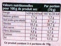 Légumiô - Pois Cassés et Courgettes en Rigatoni - Informations nutritionnelles - fr