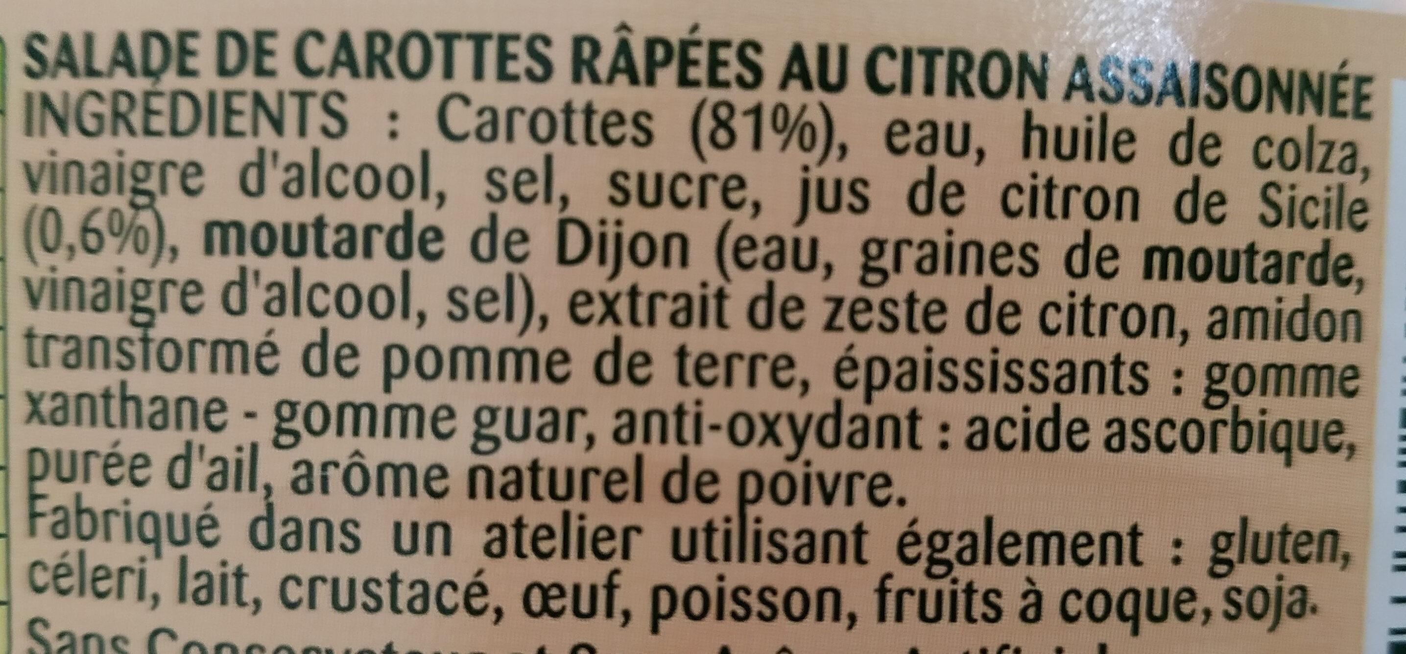 Carotte râpées - Ingrédients - fr