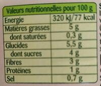 Carotte râpées - Informations nutritionnelles - fr