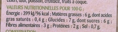 Chou pomme & feves edamame - Informations nutritionnelles
