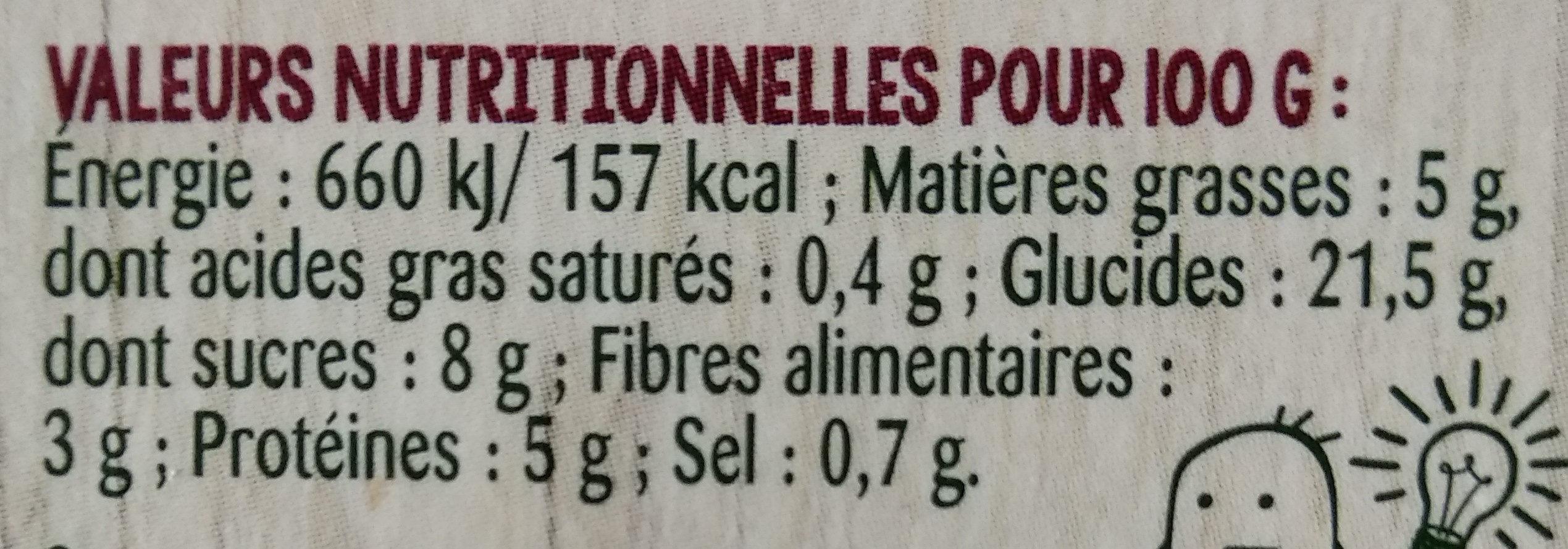 Duo quinoa pois doux - Informations nutritionnelles