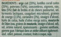 Salade orge et lentilles corail - Ingredients