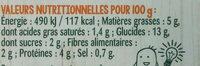Salade orge et lentilles corail - Nutrition facts