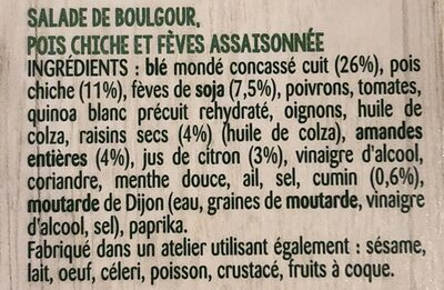 Les idées legumineuses : Blé concassé Fèves Edamame - Ingredients