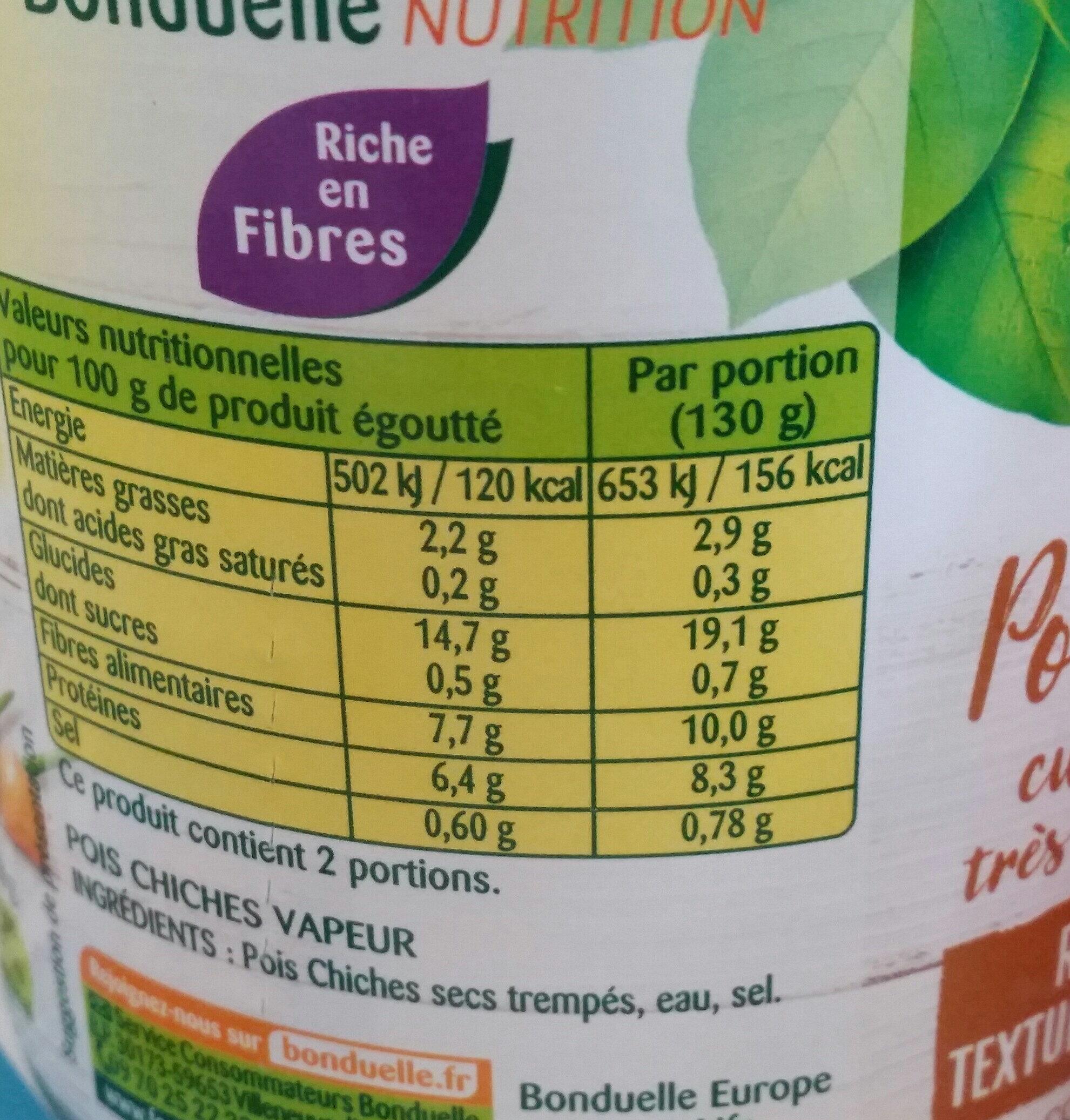 Pois Chiches cuits dans très peu de jus - Valori nutrizionali - fr