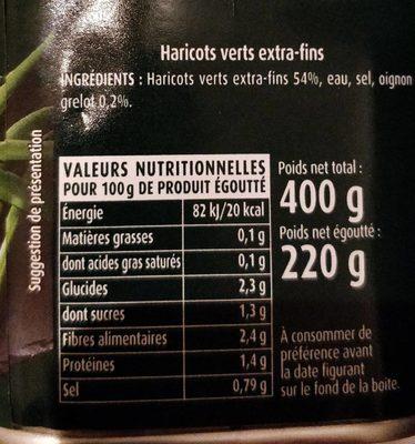 Haricots Verts extra-fins - Ingredienti - fr