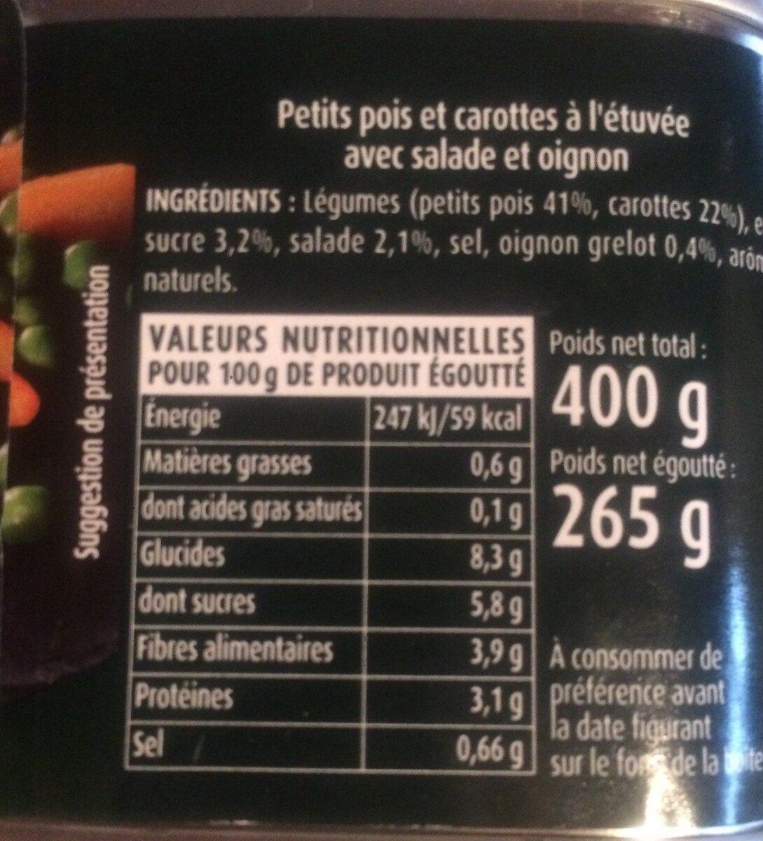 Petits Pois et Carottes - Valori nutrizionali - fr
