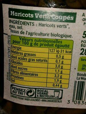 Haricots Verts Bio Légumes 100% Français - Valori nutrizionali - fr