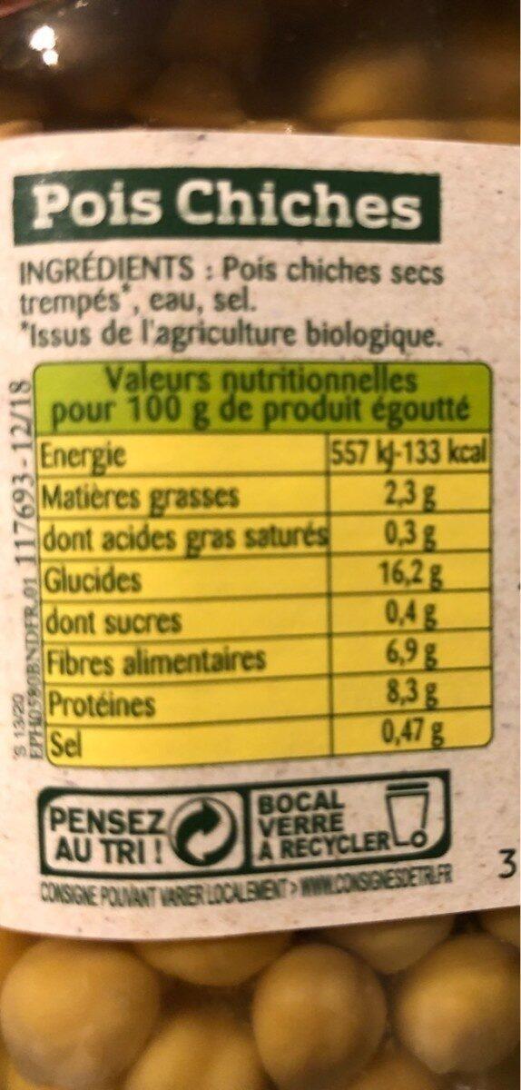 Pois Chiches Bio Légumes 100% Français - Voedingswaarden - fr