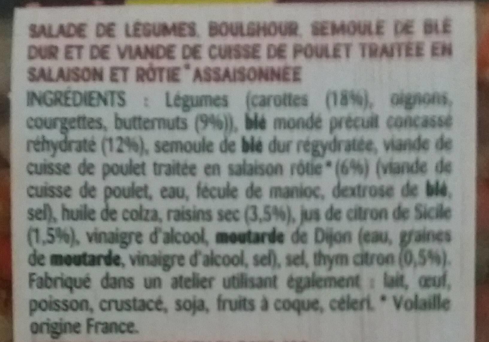 Carotte & Boulghour butternut et poulet rôti - Ingredients