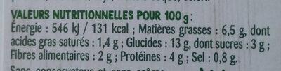 Courgettes & couscous en semoule - Nutrition facts
