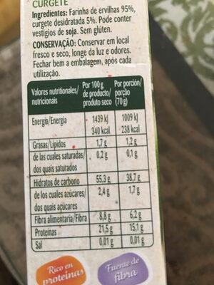 Veggie 100% guisantes y calabacin - Informació nutricional