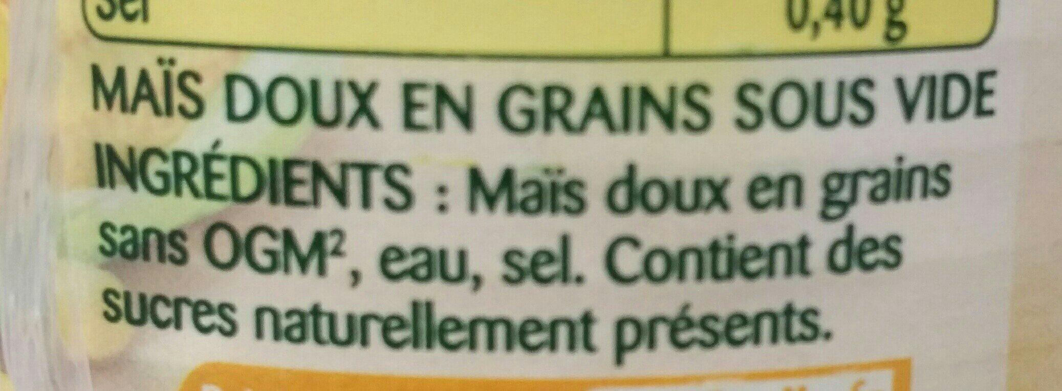 Le maïs - Ingredients