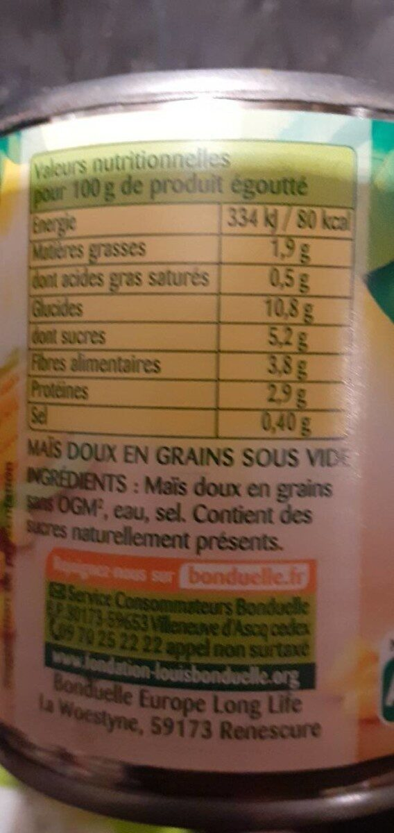 Maïs sans résidu de pesticides - Valori nutrizionali - fr