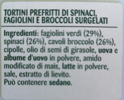 Coccole Tortini Spinaci Fagiolini Broccoli - Ingredients