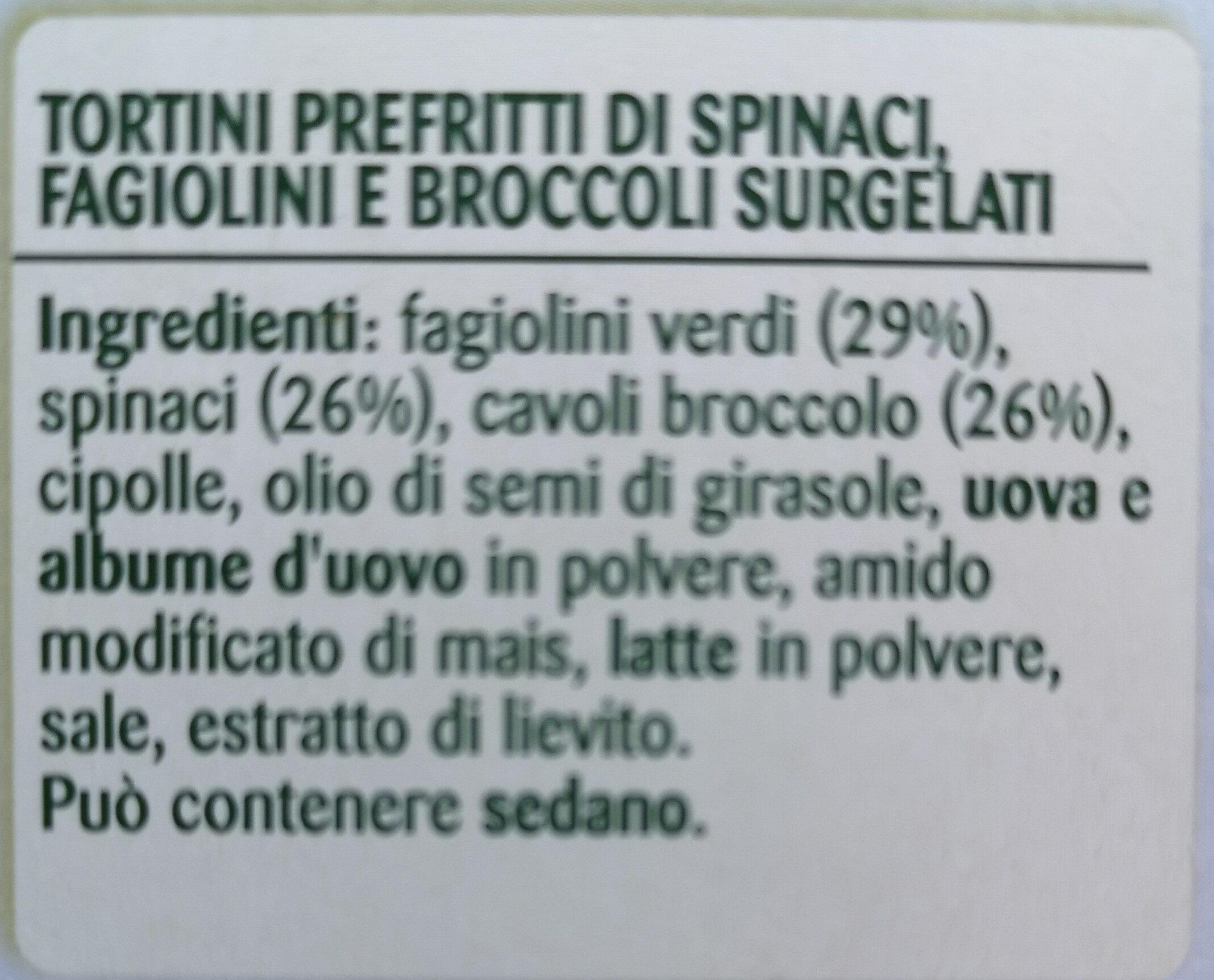 Coccole Tortini Spinaci Fagiolini Broccoli - Ingredients - it