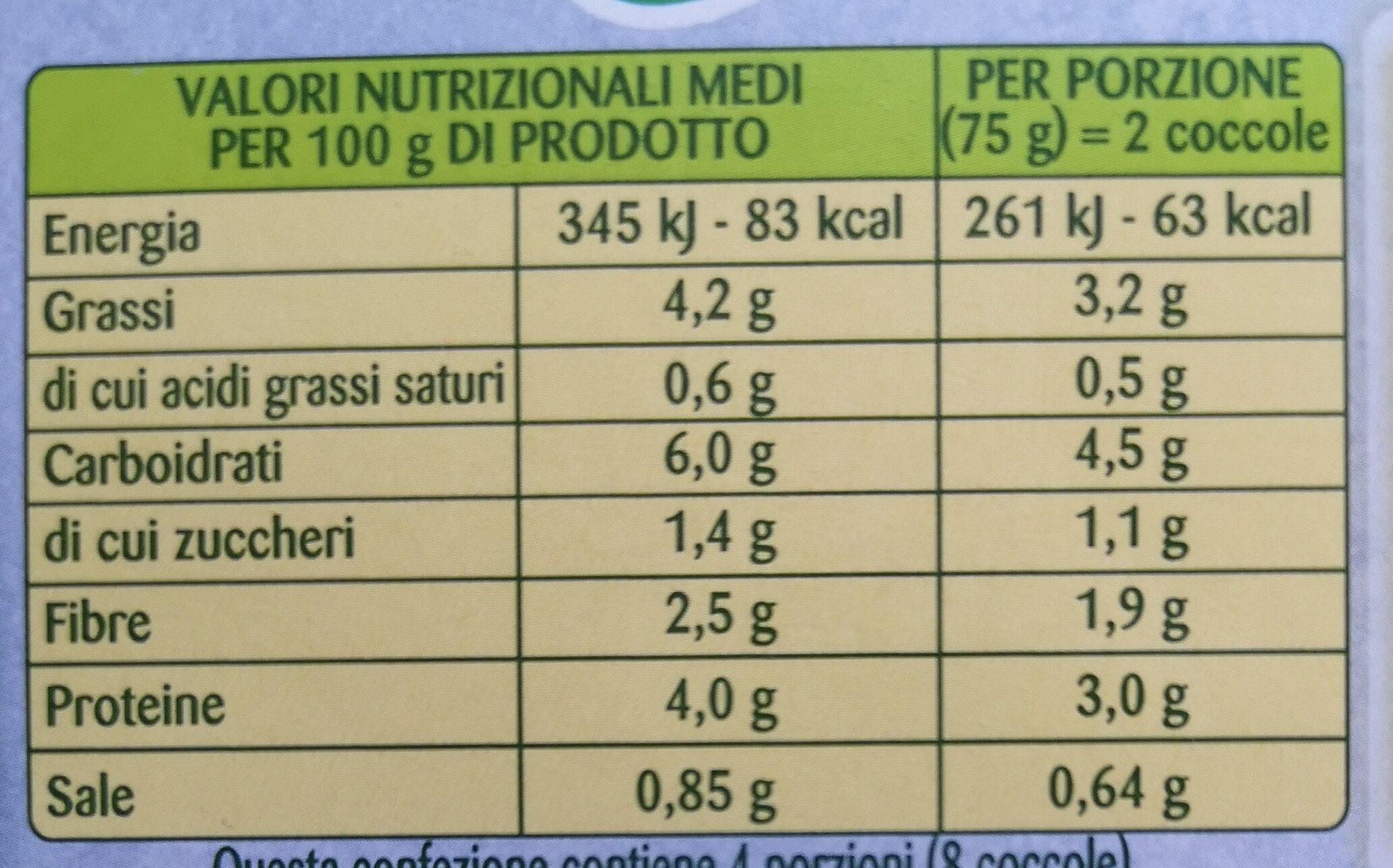 Coccole Tortini Spinaci Fagiolini Broccoli - Nutrition facts - it