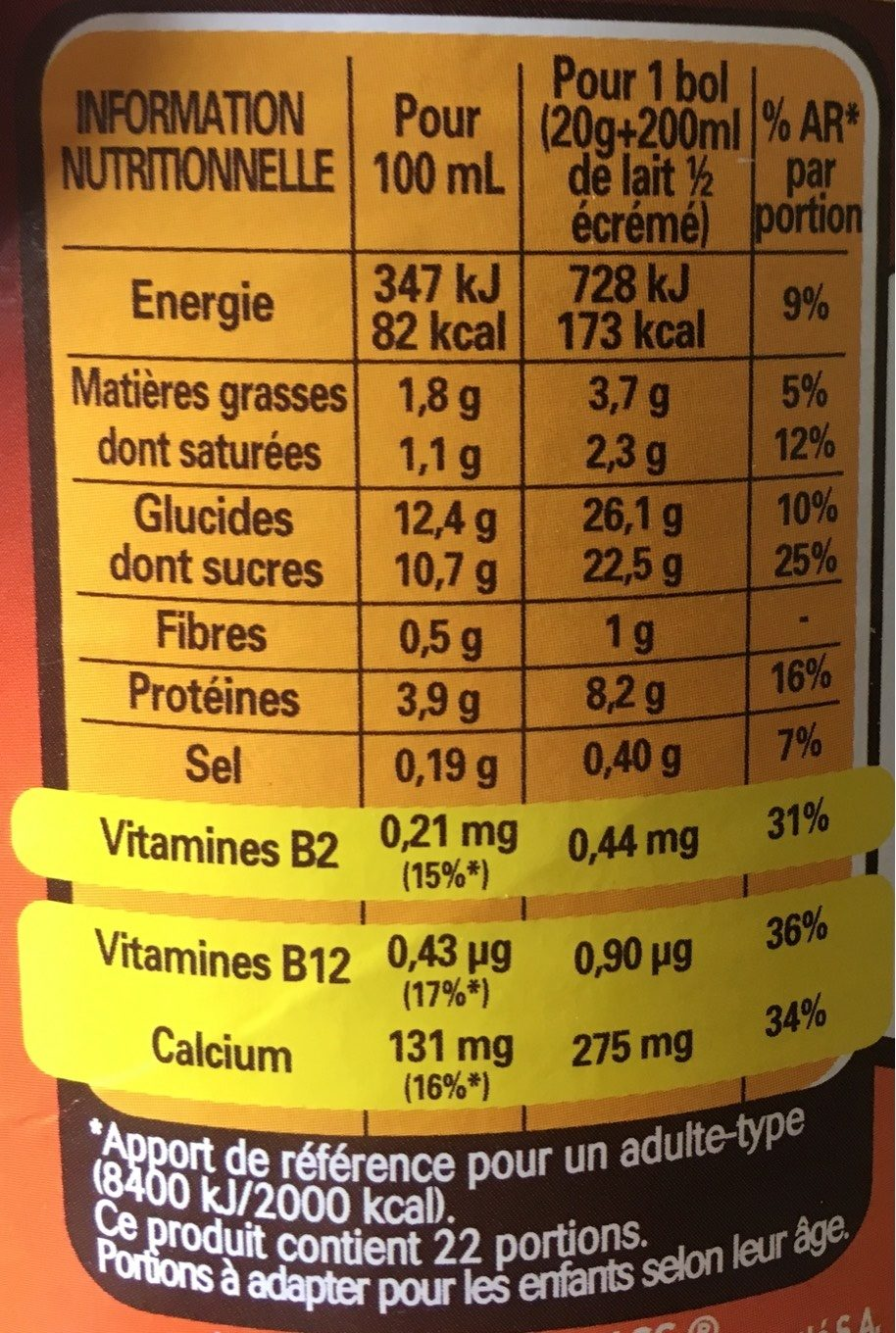 Tonimalt - Nutrition facts - fr