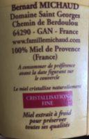 Miel de  Provence - Ingrédients - fr