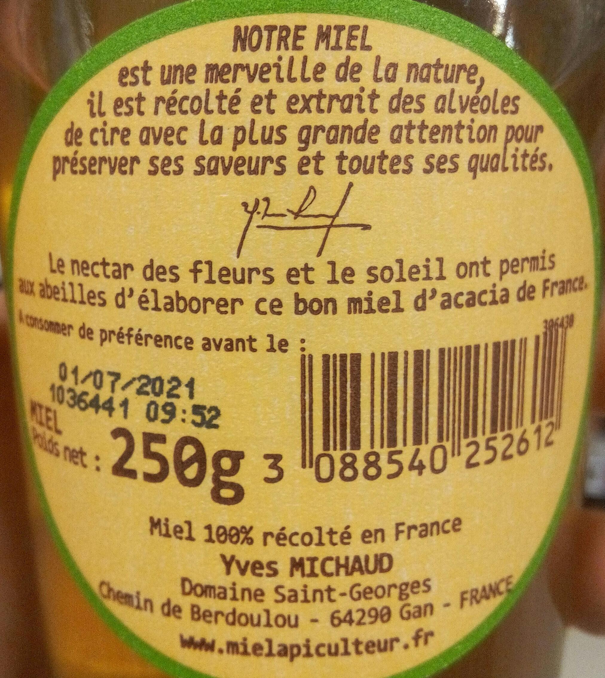 Miel acacia de France - Ingrediënten - fr