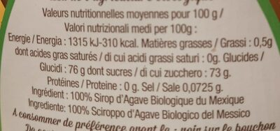 Sirop d'Agave - Informations nutritionnelles - fr