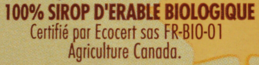 Sirop d'érable Bio - Ingrédients