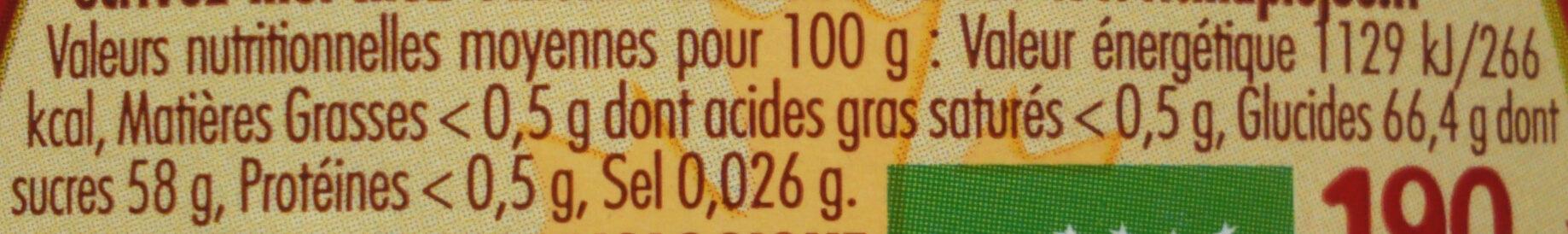 Sirop d'érable Bio - Nutrition facts