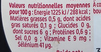 Sirop d'Agave - Nutrition facts - fr