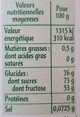 SIROP D'agave - Información nutricional - fr