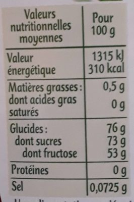sirop d 'agave - Nutrition facts