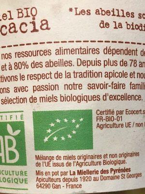 Miel Acacia Bio - 500 GR - Terre De Miel - Ingredients