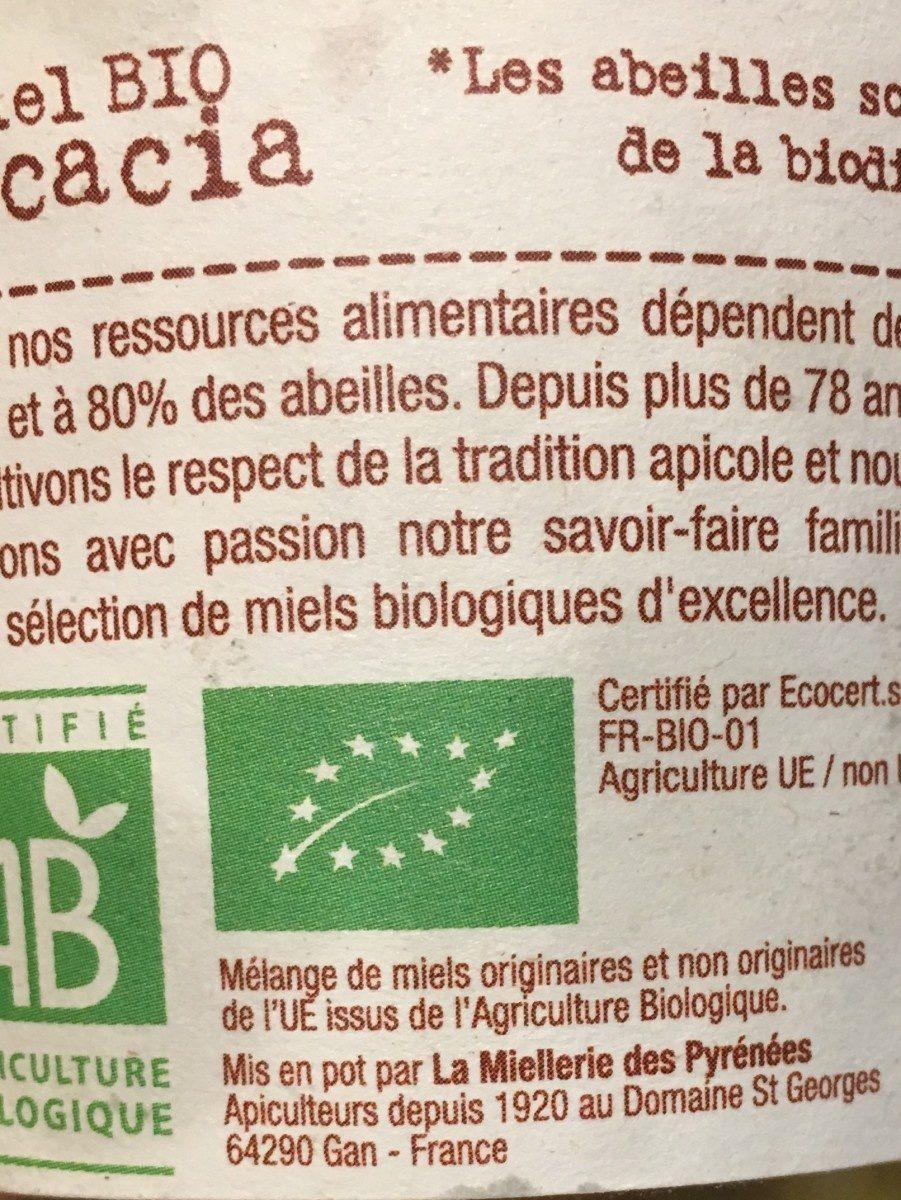 Miel Acacia Bio - 500 GR - Terre De Miel - Ingrédients - fr