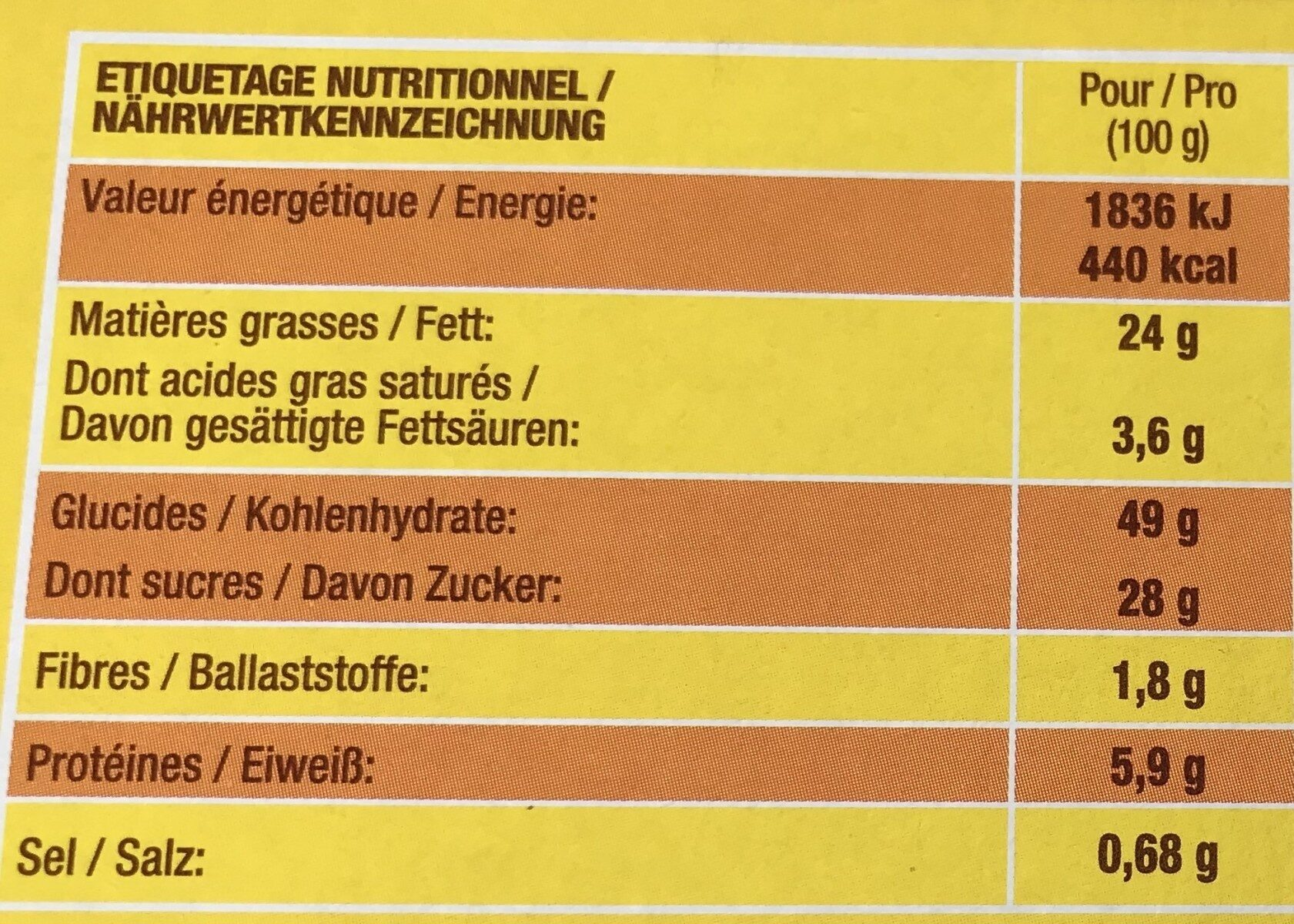 SAVANE CHOCOLAT - Informations nutritionnelles - fr