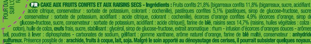 Le Cake aux Fruits - Ingrediënten - fr