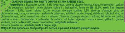 Le Cake aux Fruits Pur Beurre - Ingrédients - fr