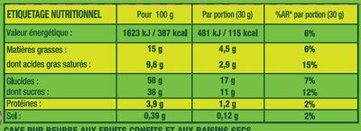 Le Cake aux Fruits Pur Beurre - Informations nutritionnelles - fr